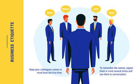 Un consiglio che è legato all'etichetta aziendale e alla comunicazione di successo sui nomi dei colleghi che si ricordano. Illustrazione vettoriale colorato per il web e la stampa.
