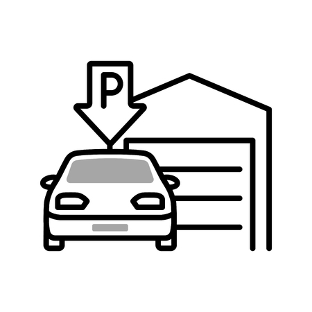 Indoor parking vector monochrome illustration with a car near covered parking garage