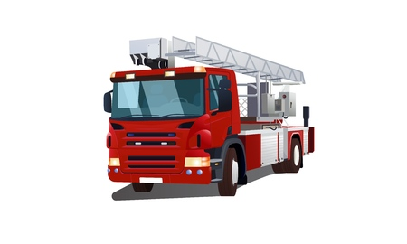 Semi-sided red fire engine vector illustration isolated on white background for web and printing. Illustration