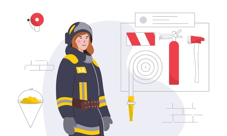 Colorful vector illustration with woman-firefighter and equipment Illusztráció