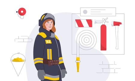Ilustración de vector colorido con mujer-bombero y equipo Ilustración de vector