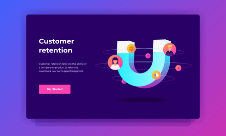 Customer retention strategies concept, Digital inbound marketing, Colorful vector banner illustration for web and printing.