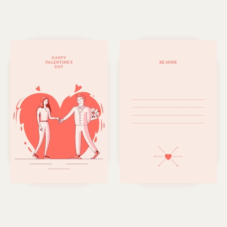 Happy Valentine s Day - February 14 - greeting card tempalte. Two young people in love. The guy presents flowers to his beloved, tenderly holding her hand. Colorful vector illustration for printing.