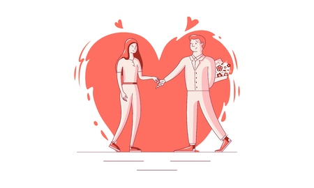Happy Valentine s Day - February 14 - vector illustration. Two young people in love. The guy presents flowers to his beloved, tenderly holding her hand. Colorful vector illustration for printing.
