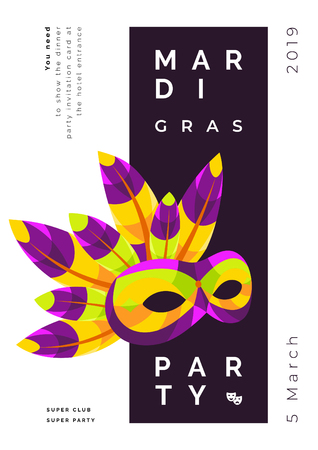 Mardi gras mask template with feathers for flyers
