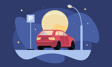 Overnight parking vector illustration with red car near parking sign by moonlight and lantern for web and printing.