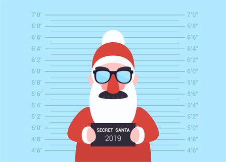 Santa Claus, who is suspected of giving presents in the new 2019 year. Colorful vector illustration on blue background for web and printing. Illusztráció