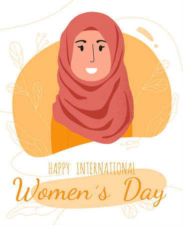 International Womens Day March 8 postcard template with smiling arabian girl in hijab. Colorful vector illustration for web and printing.