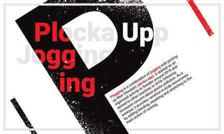 Design concept of plogging origination jogging and plocka upp with black capital letter P as a main element. Textual vector illustration for printing and web. Ilustración de vector