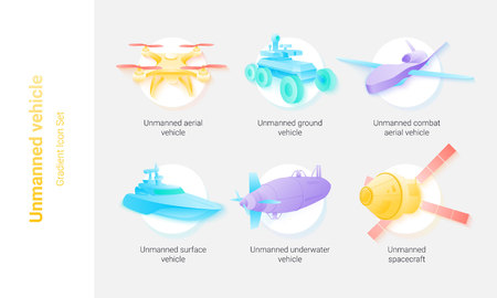 Different kinds of unmanned vehicle aerial, ground, combat, surface, underwater, space . Bright gradient icon set. Vector illustration for web and peinting.