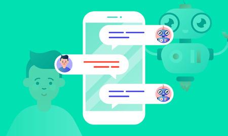 Robo Advisor hilft seinem Kunden und chattet mit ihm über das Smartphone. Chatbot-Konzept. Bunte flache Vektorillustration für das Web und das Drucken auf hellgrünem Hintergrund.