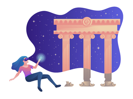 Virtual reality colorful vector illustration with the girl near the ancient temple for web and printing.