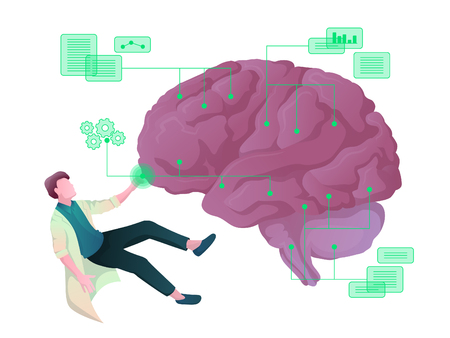 Colorful vector concept of the scientist, dealing with artificial intelligence Illustration