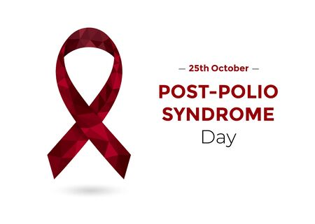 Post-polio Syndrome Awareness Day low poly ribbon. 向量圖像