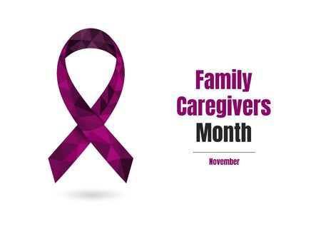 Family Caregivers Month November concept with plum purple awareness ribbon. Colorful vector illustration for web and printing.