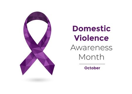Domestic Violence Awareness Month October concept with deep purple awareness ribbon. Colorful vector illustration for web and printing. Illustration
