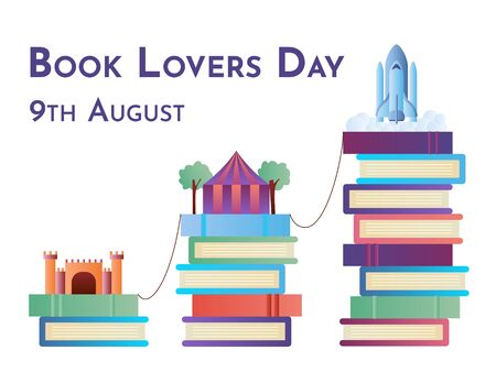 Book Lovers Day colorful vector illustration with imaginary worlds concept for web and printing.