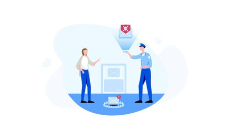 The policeman attempts to identify phishing content contained in the women's e-mail. Colorful vector illustration for web ob blue background.