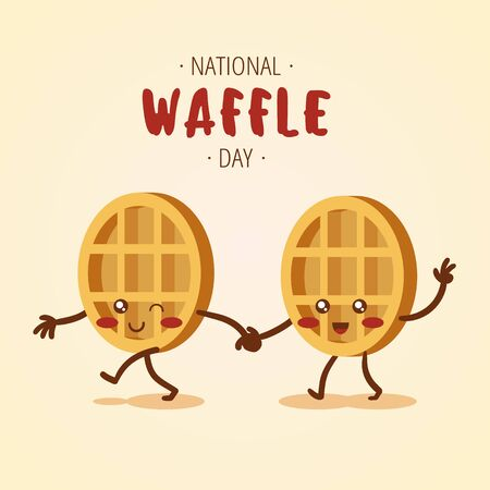 National Waffle Day colorful vector waffles with cheerful smiles for web and printing. Stock Illustratie