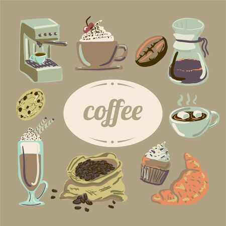Warm and cozy hand drawn vector coffee shop poster.