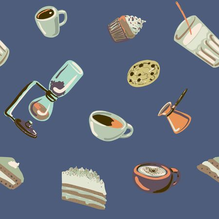 Coffee and goodies colorful vector pattern for web and print.