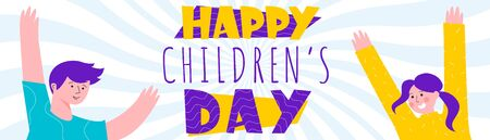 Happy chuldren s day colorful vector illustration with cheerful kids. Children s right and protection concepts.