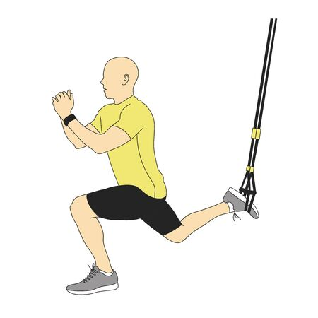 Illustration of man doing TRX suspended lunge with ropes isolated on white.