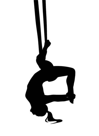 Fly yoga pose with aerial silk hammock. Dark vector sillhoeuette.