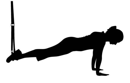 Pike exercises with a rope isolated on white. Vector silhouette illustration. Ilustracja