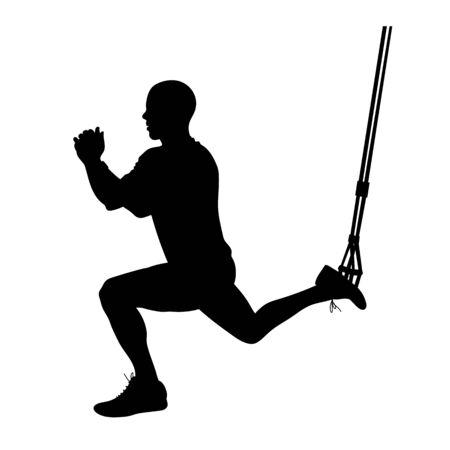 Illustration of man doing suspended lunge   exercise isolated on white. Çizim