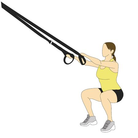 Woman, doing deep squats exercises with a rope isolated on white.