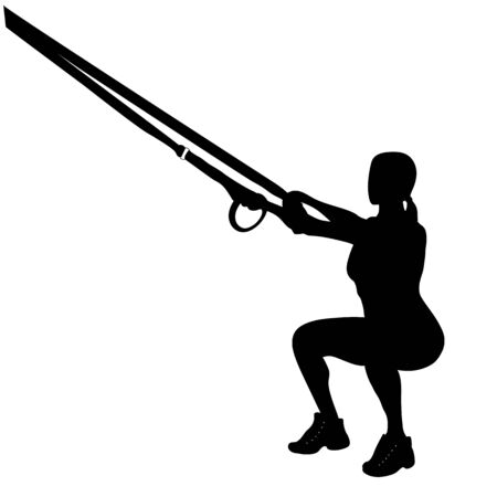 Female silhouette, doing deep squats  exercises with a rope.