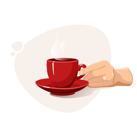 Female hands holding red cup of hot drink like coffee or tea. Coffee day. Hyugge. Twosome conversation.