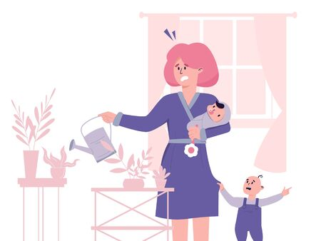 Tired yound mother, trying to combine parenting and housework. Postpartum depression concept.