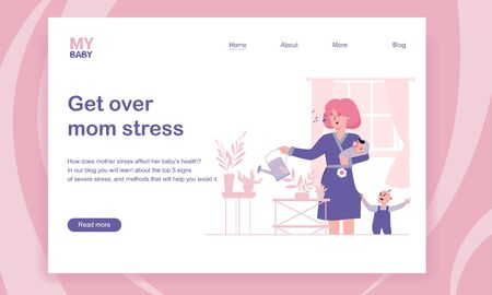 Happy young mom with her two kids, watering plants at home. Getting over mom stress and postpartum depression. Иллюстрация