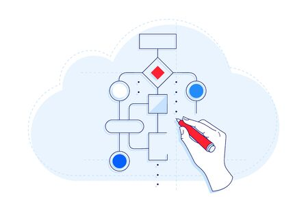 Client creates workflow without coding linear illustration. SaaS and iPaaS. Cloud computing.