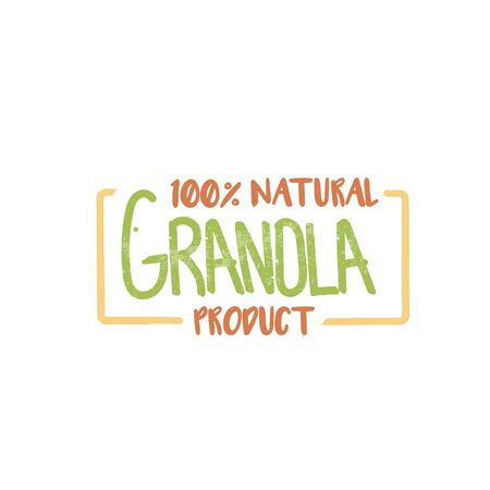 Granola 100 percents natural product logotype. Handwritten green and orange granola rectangle signboard.