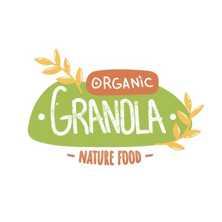 Granola organic nature food logotype. Handwritten granola word on green background and orange wording with oat spikes.
