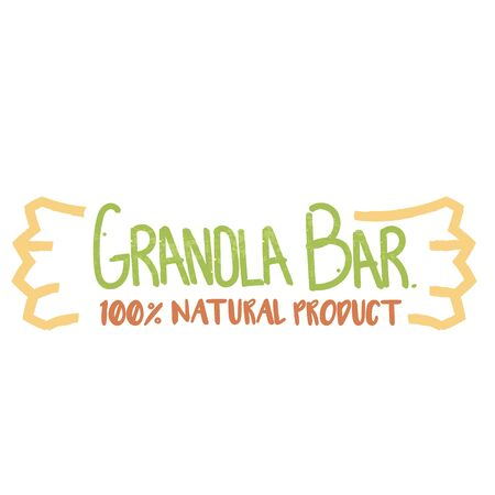 Granola bar 100 percents natural product logotype. Handwritten green and orange signboard shaped as granola bar. Çizim