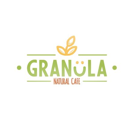 Granola natural cafe logotype. Bold green granola caption and orange wording signboard with smile and oat spike.