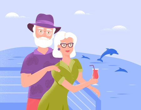 Two smiling senior spouses relax on the deck of a ship with refreshing drink, watching dolphins. Sea cruise as a holiday vacation idea. Senior tourism special offers, burning tickets, active leisure. Illusztráció