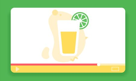 Food blogger icon. Lemonade cocktail flat light style vector image in video player frame. Foodie influencer icon.