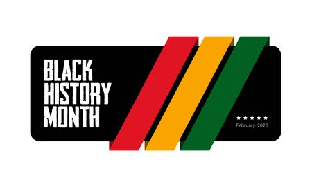 Black History Month green, yellow and red stripes banner template. African-American History Month - February -celebration of the important contribution of black people to culture, science and history.  イラスト・ベクター素材