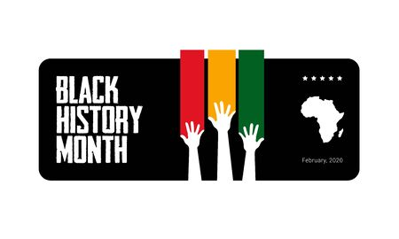Black History Month red, yellow and green symbolic tricolor banner template with raised hands and African continent. African-American History Month - February . Tribute to people s origin and heritage  イラスト・ベクター素材