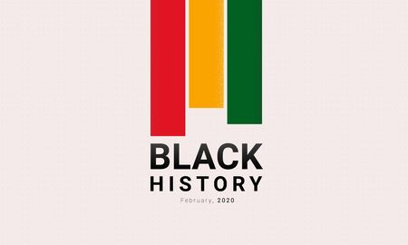 Black History Month red, yellow and green stripes banner template. African-American History Month - February -celebration. Social issues and world history. Tribute to people s origin and heritage.