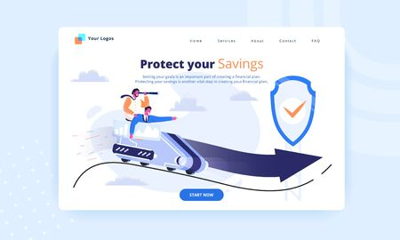 Protect your savings first screen. Financial consulting website hero image. Business men in suits riding a roller coaster with safety protection shield. Way to success and risk management concept.