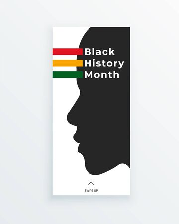 Black History Month green, yellow and red stripes web banner template with african american face silhouette, as a concept of important contribution of black people to culture, science and history.