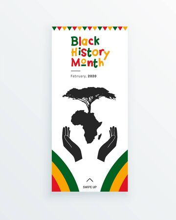 Black History Month web banner template with the hands, protecting African continent and the tree of life.