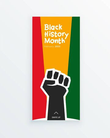 Black History Month to remember important people and events of the African diaspora banner template with raised fist.