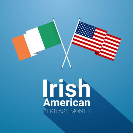 Irish-American Heritage Month banner template with Irish and Stars and Stripes crossed flags on blue background.  イラスト・ベクター素材